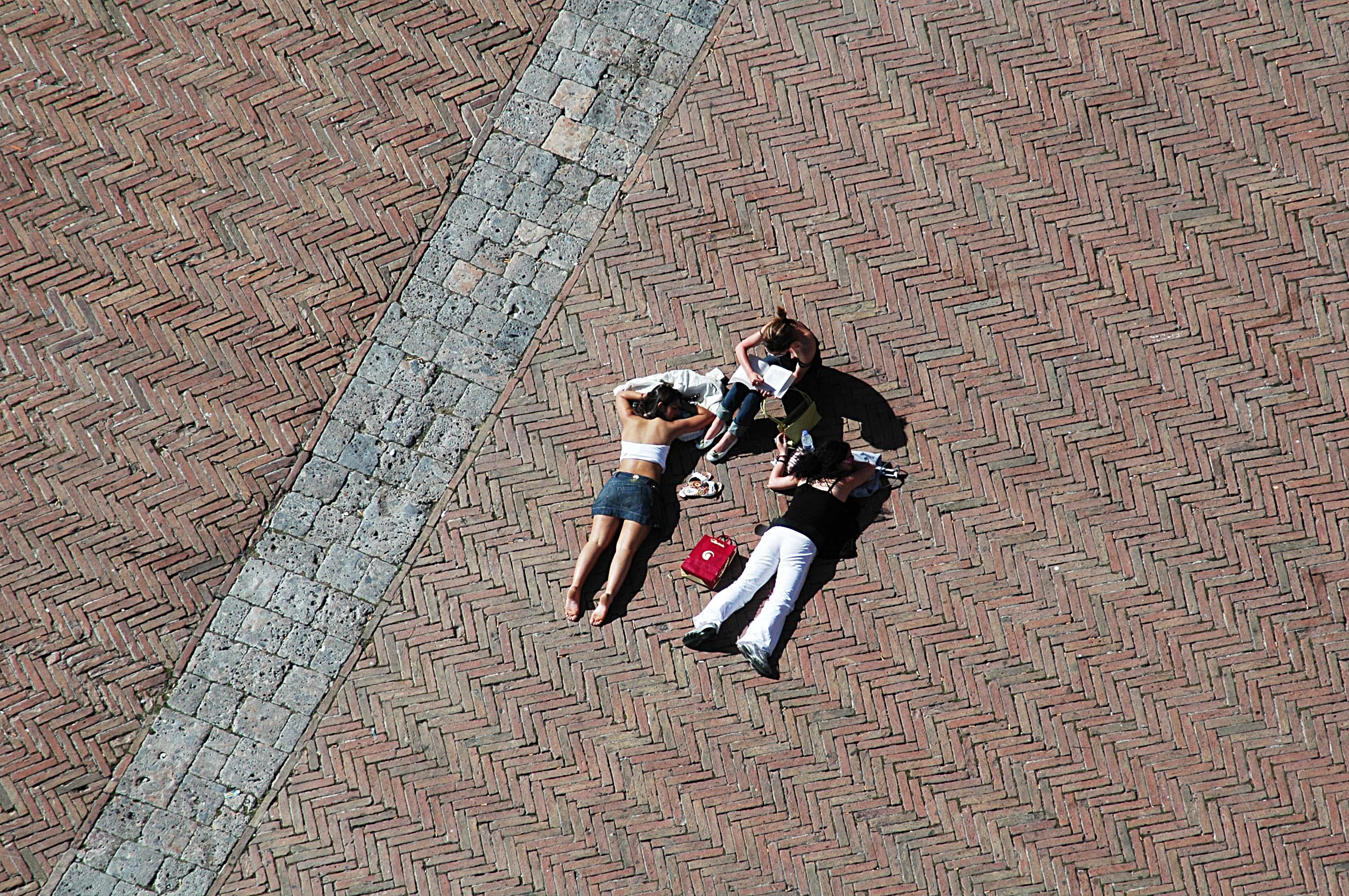 Sienne Plaza del Campo Les touristes